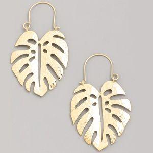 Gold Plated Monstera Leaf Hoop Earrings